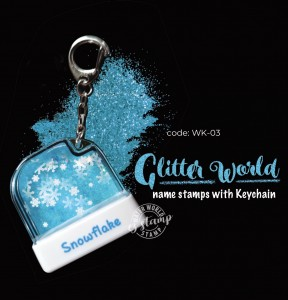 Glitter World Name Stamp with keychain
