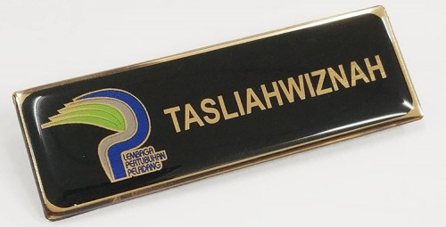 Epoxy Name Tag- Black + Gold (25x74mm)