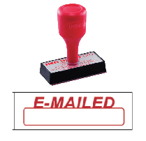 red rubber stock stamp