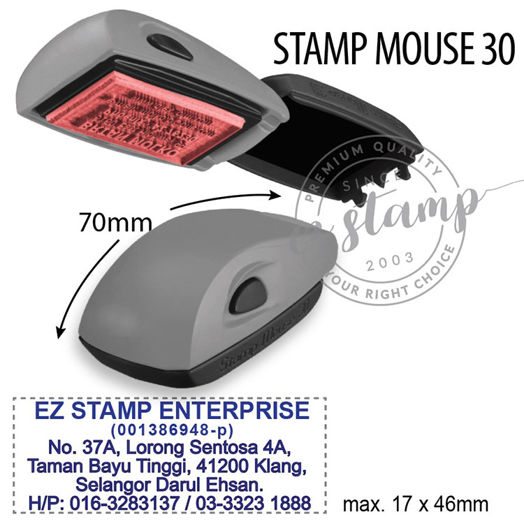 STAMP MOUSE 30 GREY